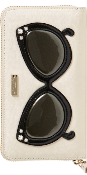 kate spade new york 'splash out - lacey' leather wallet in pebble
