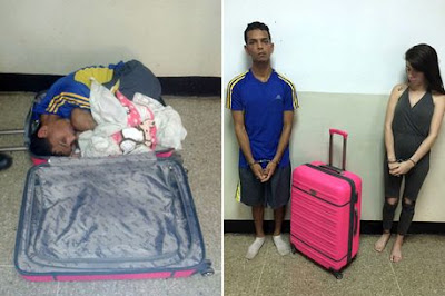 GIRLFRIEND CAUGHT WHILE TRYING TO SUGGLE HER LOVER OUT OF PRISON INSIDE A PINK SUITCASE