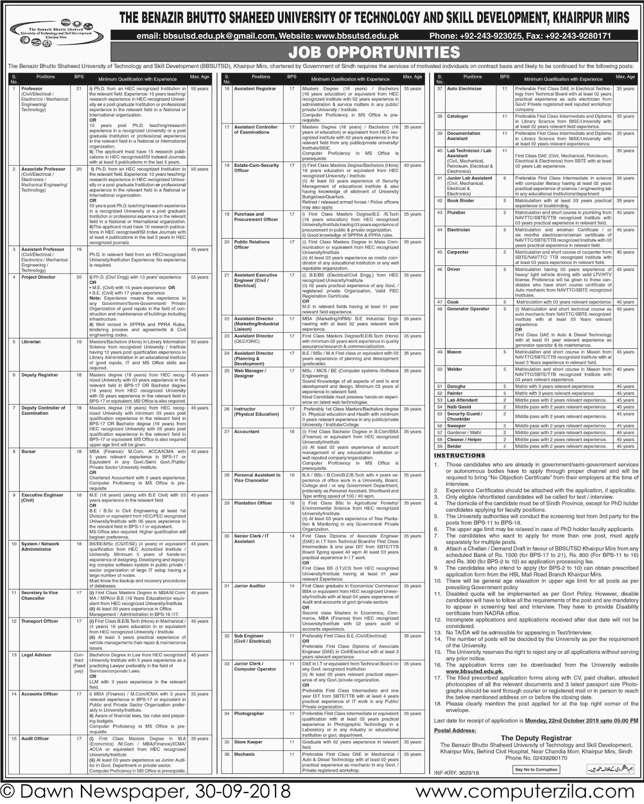 Job Opportunities at The Benazir Bhutto University of Technology and Skill Development