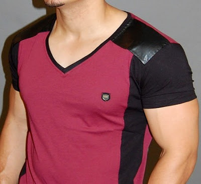 v-neck t-shirt gay muscle