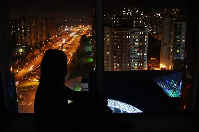 Санкт-Петербург, ночной город, окно, высоко, город не спит