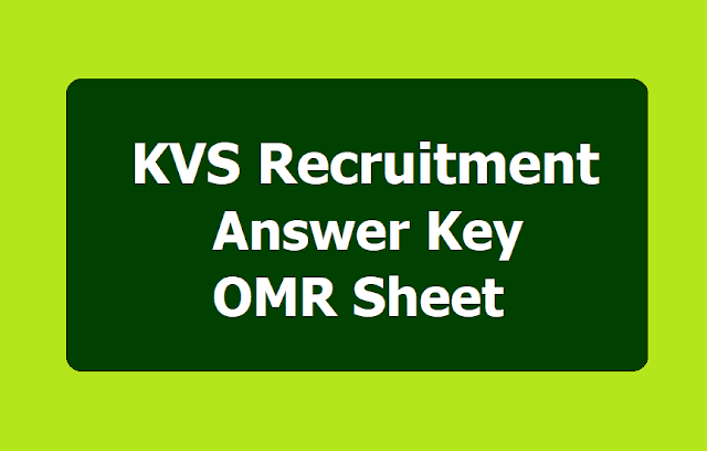 KVS PGT, TGT, PRT Answer key, OMR Sheets