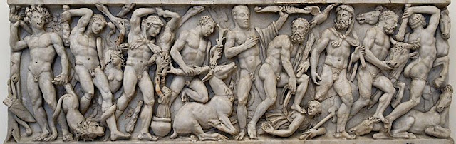 Mythological frieze sarcophagus showing the Labors of Hercules. Ca. 240-250 AD. Rome, Palazzo Altemps (inv. 8642).