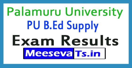 Palamuru University PU B.Ed Supply Exam Results 2017