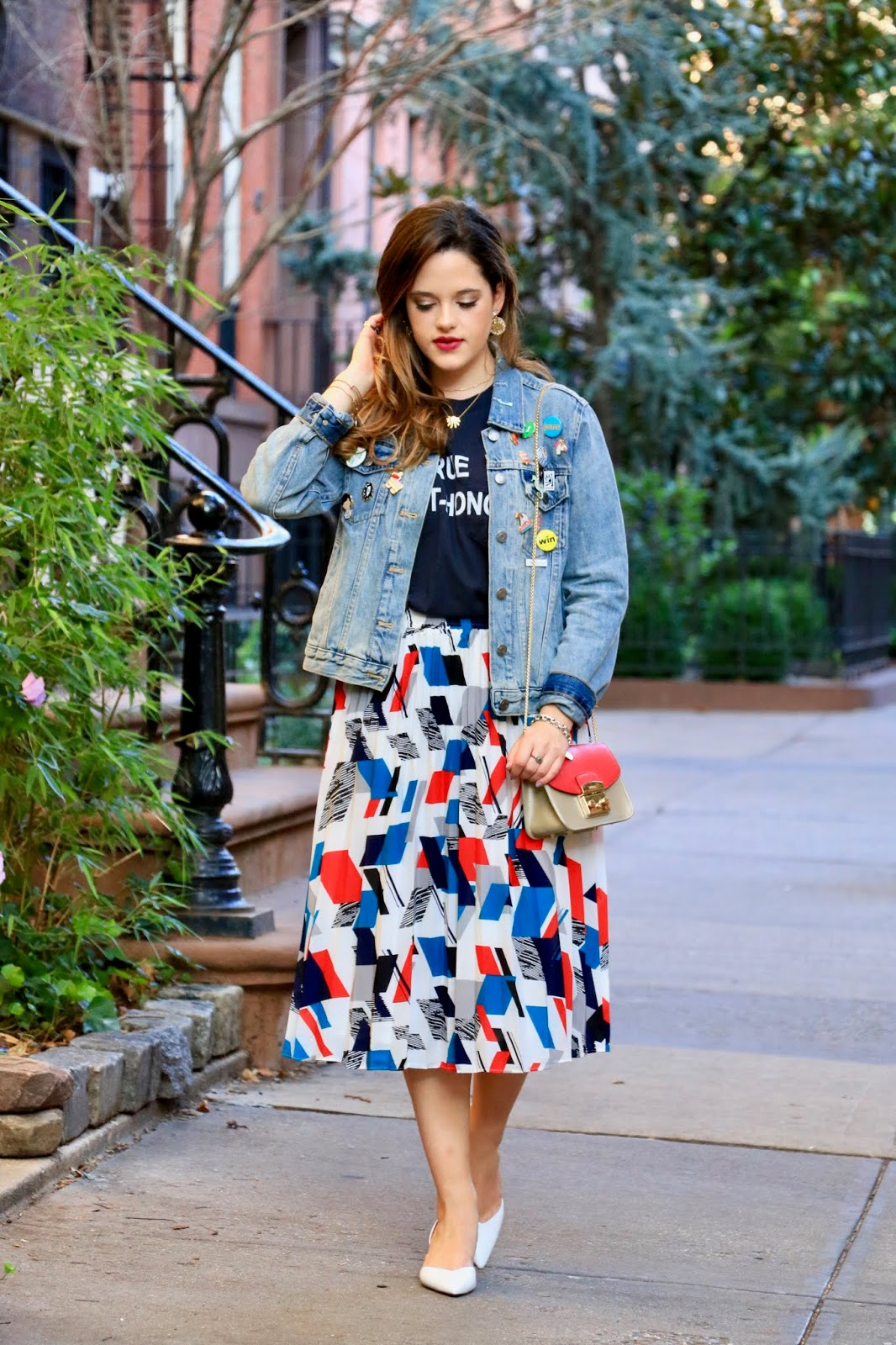 Nyc fashion blogger Kathleen Harper wearing a denim jacket with pins