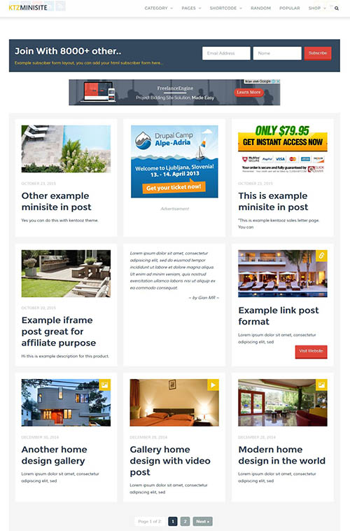 Download Template Ktzminisite wp theme for blogging, affiliate and ...