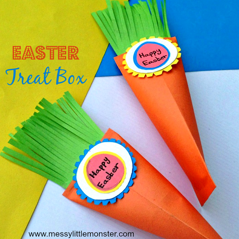 image relating to Carrot Printable titled Easter Carrot Handle Box Paper Craft - Messy Very little Monster