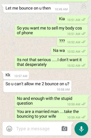 Who Is To Blame? Married Man Asking For Sex Or Young Lady Asking For Phone?