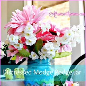 Distressed Mod- Podge Fabric Jar