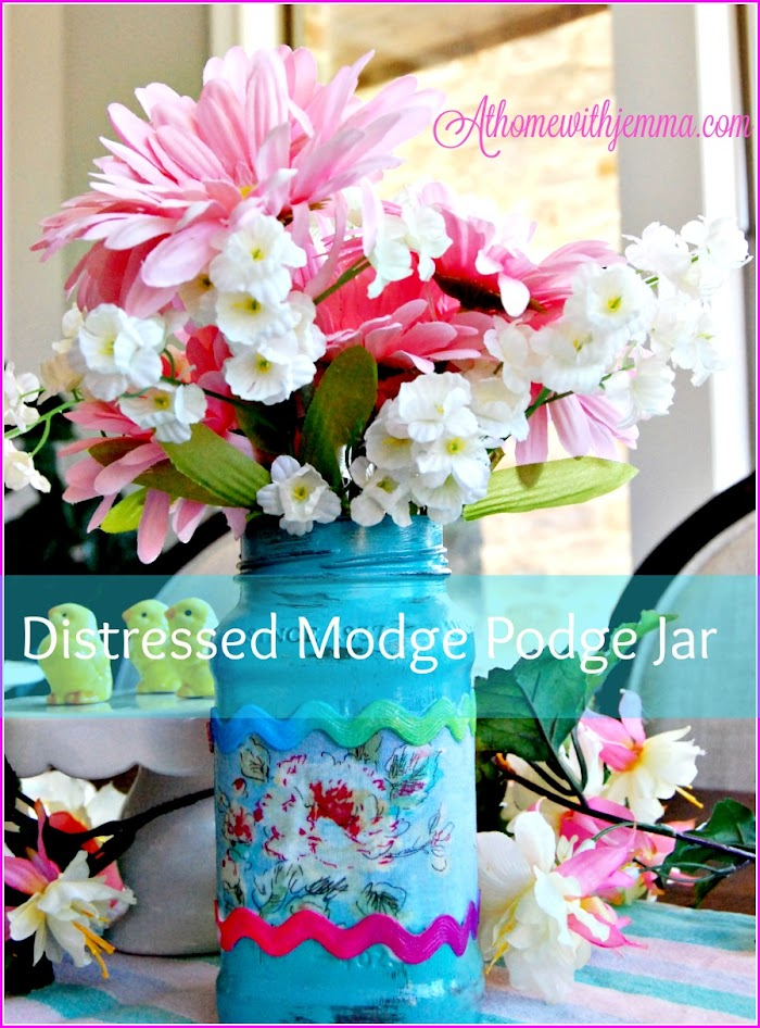Distressed Modge Podge Fabric Jar