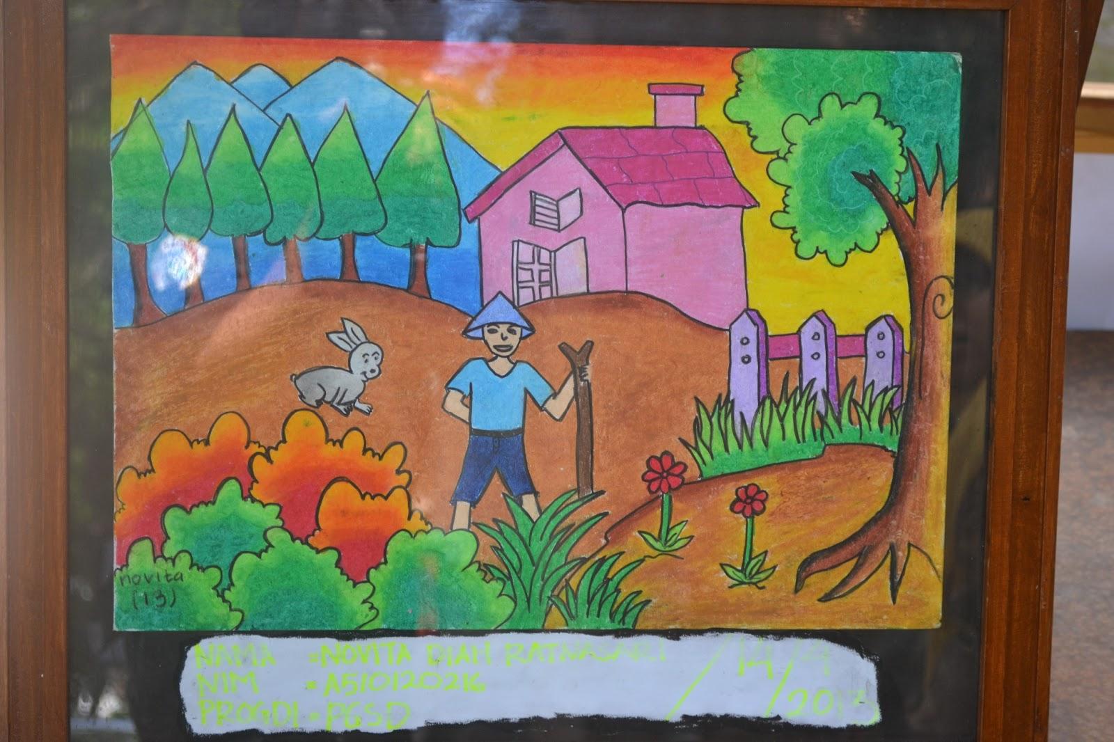 Lukisan Pemandangan Gunung Dengan Crayon 24627  LOADTVE