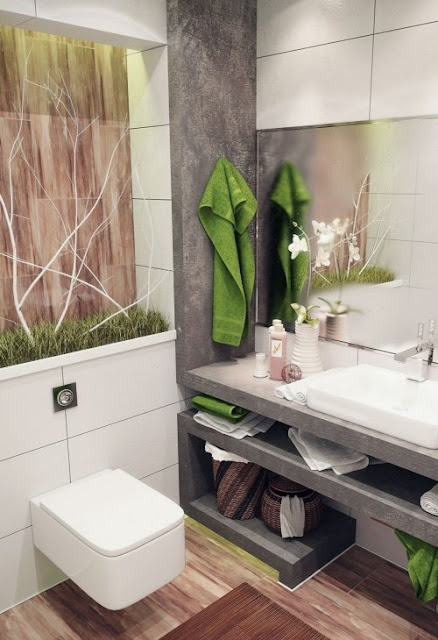 bathroom design idea with lotions