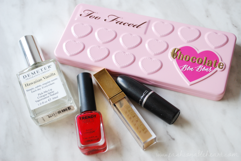 bbloggers, bbloggersca, beauty, makeup, too faced, mac, elizabeth and james nirvana, thefaceshop, nail polish, velvet teddy, demeter, hawaiian vanilla