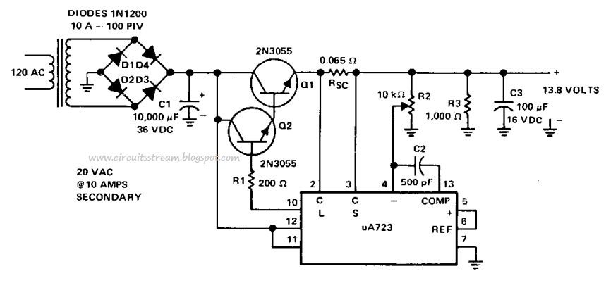 Simple 8Amp Regulated Power supply Circuit Diagram
