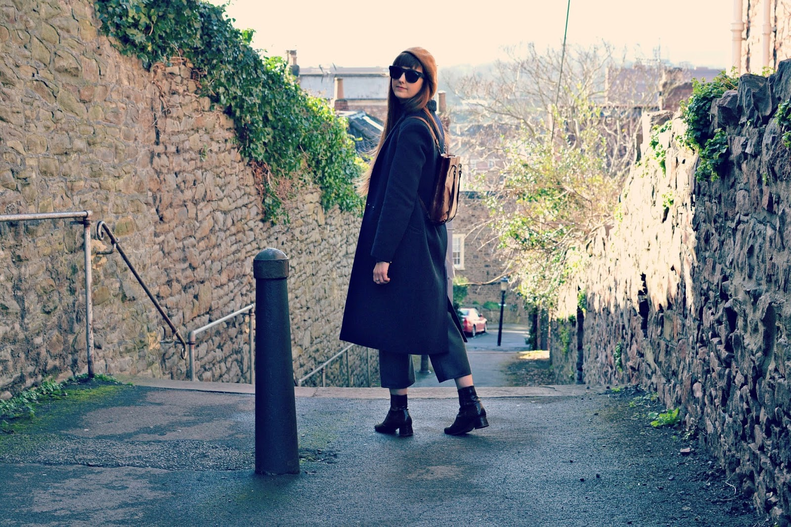 whistles coat, quay sunglasses, vintage backpack, finery boots, blogger