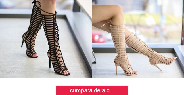 Sandale inalte pana la genunchi elegante cu toc negre, nude