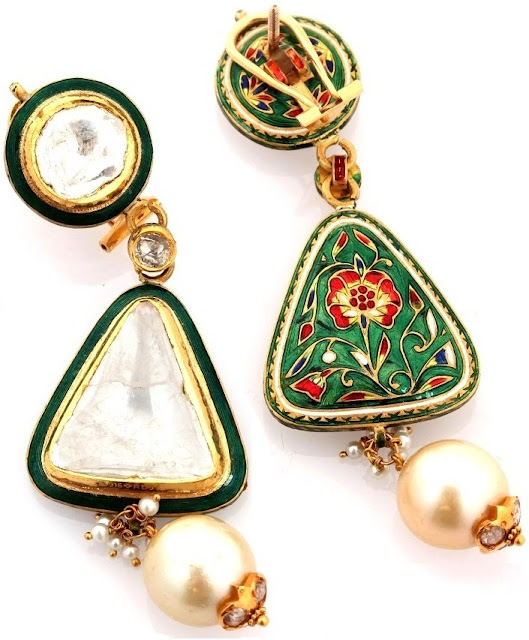 Entice Taraash- Kundan Polki Earrings with Enamelled Back