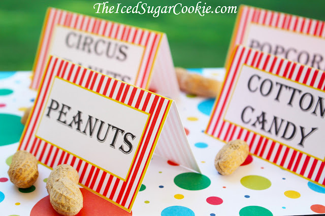 DIY Circus Birthday Party Food Label Tent Cards Printable Digital Download Template-Clown Noses, Monkey Snacks, Lion Snacks, Elephant Snacks, Clown Snacks, Circus Tickets, Acrobats, Circus Cookies