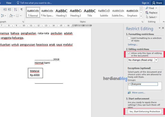 Editing-restrictions-Menu-MS-Word