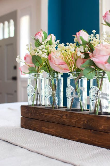 wooden farmhouse style centerpiece