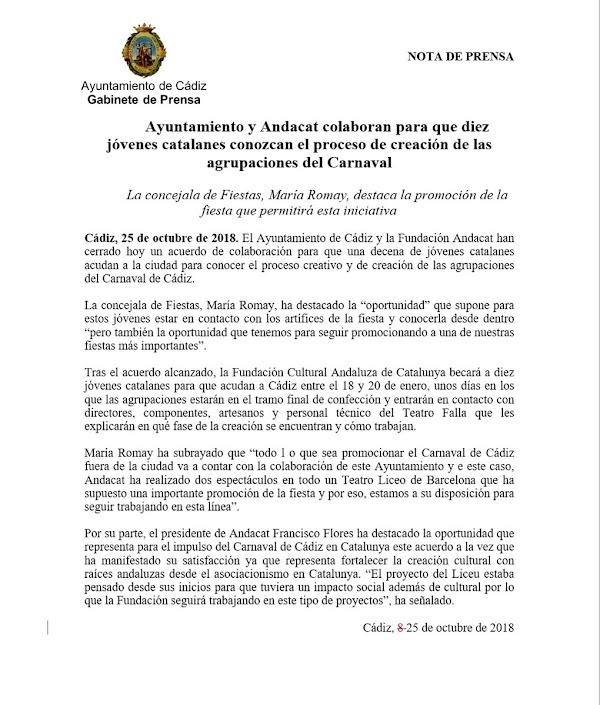 Ayuntamiento y Andacat colaboran para que diez jóvenes catalanes conozcan el proceso de creación de las agrupaciones del Carnaval