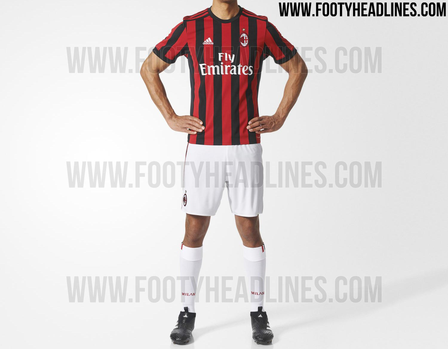Ac milan 17 18 home kit released footy headlines for Cuarto kit del america
