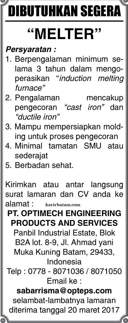 Lowongan Kerja Pt Optimech Engineering Products And Services 20 Maret 2017 Lowongan Kerja Batam 2021