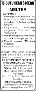 Lowongan Kerja PT. Optimech Engineering Products And Services (20 Maret 2017)