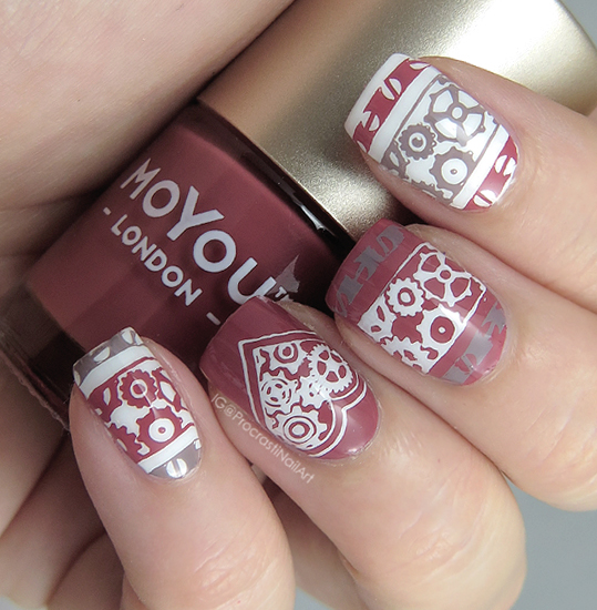 Nail art rosey steampunk stamping with moyou london i wanted to use moyou london polishes as much as i could but since i still dont have a white moyou london polish it meant using sinful colors snow me prinsesfo Choice Image
