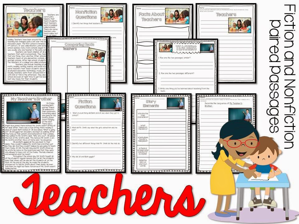 May fiction and nonfiction paired texts- all about teachers- paired passages with 5 themes for May