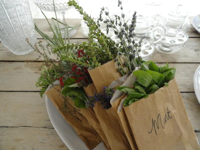 lembrancinha de ervas frescas em saquinhos