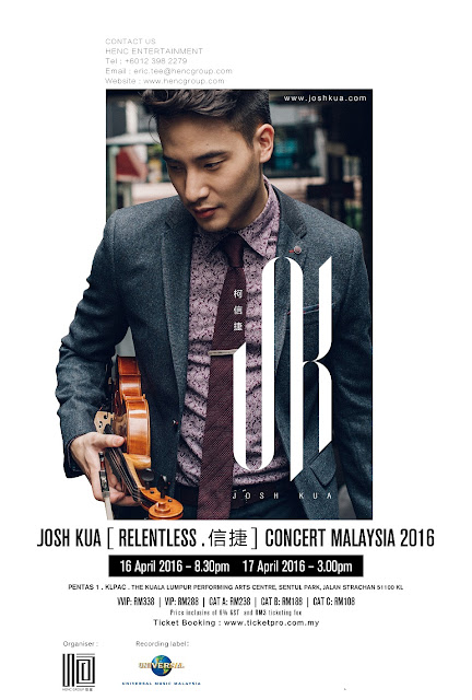 Josh Kua [ RELENTLESS . 信捷 ] Concert Malaysia 2016 Location : Pentas 1, The Kuala Lumpur Performing Arts Centre (klpac) Date: 16 Apr 2016 @ 8.30pm (Show1) 17 Apr 2016 @ 3.00pm