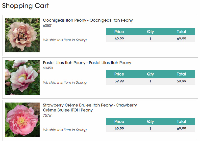Spring Hill Nursery Unregistered Intersectional Peony Offerings