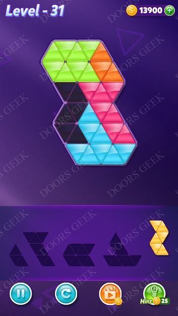 Block! Triangle Puzzle 5 Mania Level 31 Solution, Cheats, Walkthrough for Android, iPhone, iPad and iPod