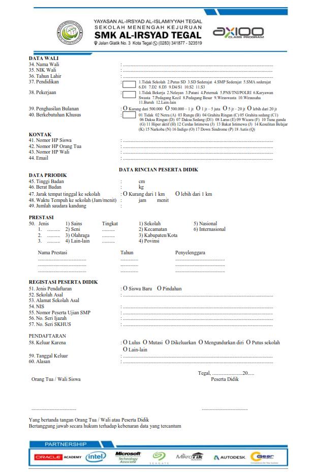 formulir pendaftaran peserta didik baru smk al irsyad