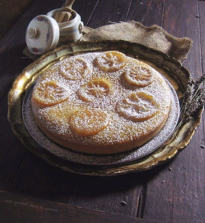 Lemon Cornmeal Cake with Candied Lemons | une gamine dans la cuisine