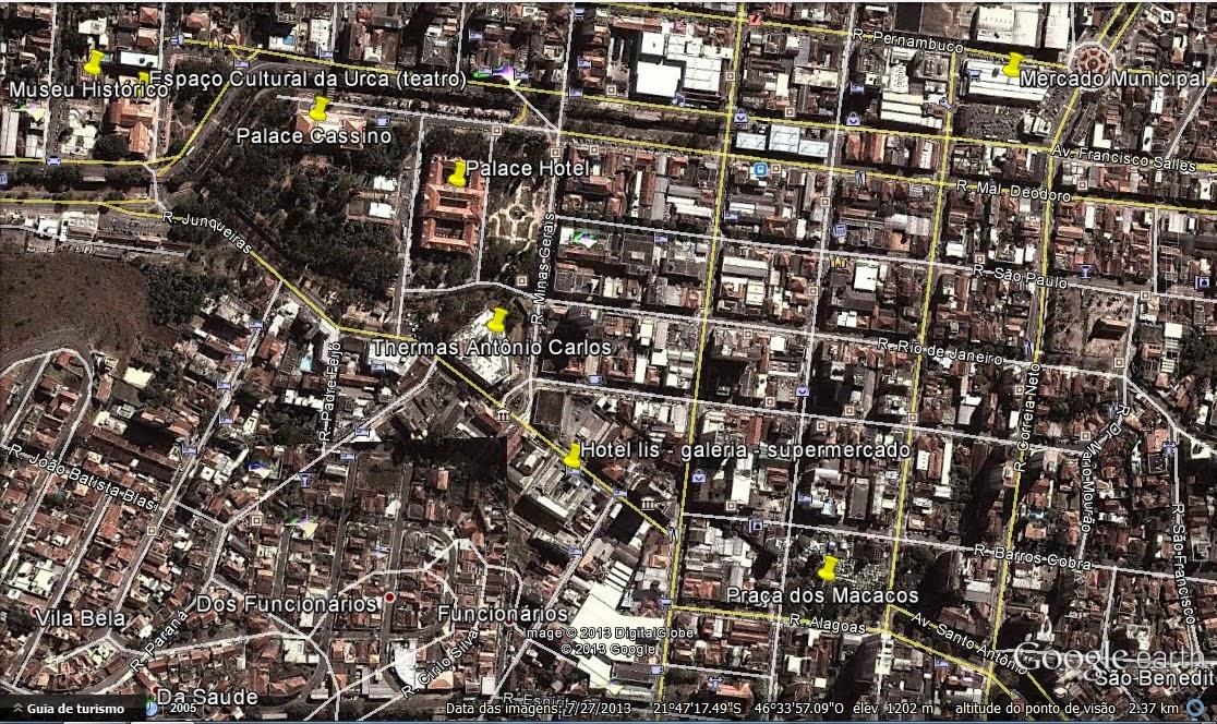 Localização de pontos turísticos de Poços de Caldas pelo Google Earth