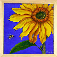 Sunflower Diptych  with Pine Frame  made by Minaz Jantz
