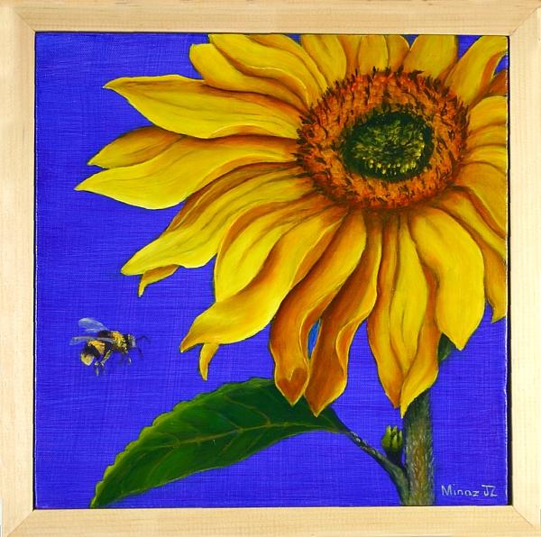 Sunflower Diptych  with Pine Frame  made by Minaz Jantz