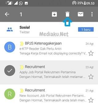 Hapus Pesan Masuk Di Gmail Lewat HP