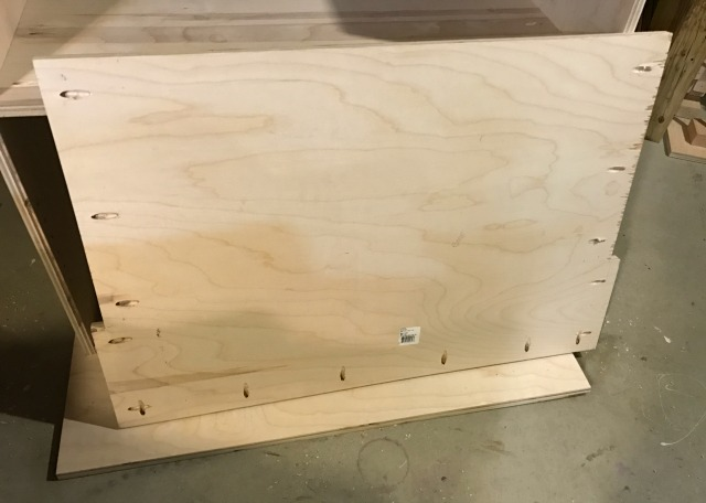 pocket holes in base of pantry cabinet