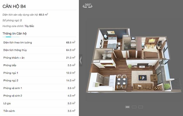 Thiết kế chi tiết căn hộ B4 chung cư The Legend