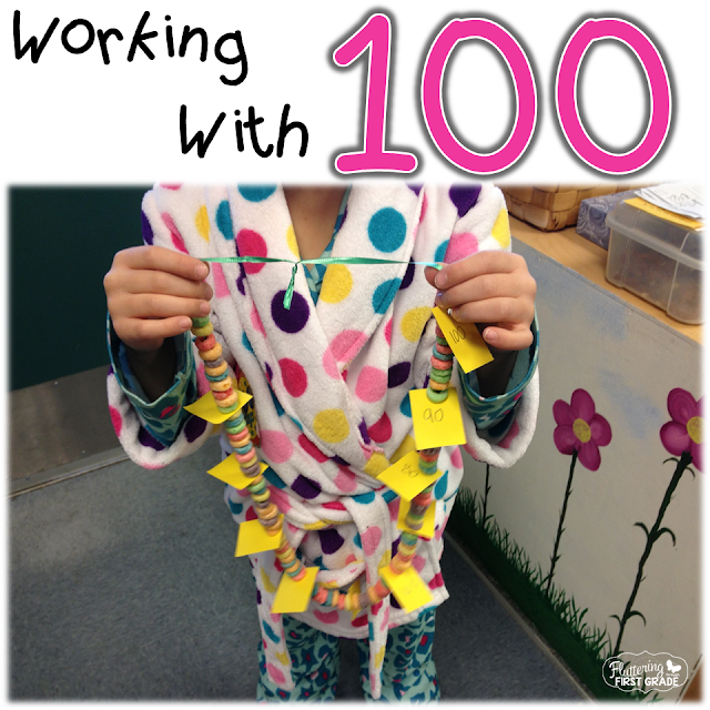 100th day of school necklace. Practice counting by 10's and stringing up a 100th day of school snack at the same time!