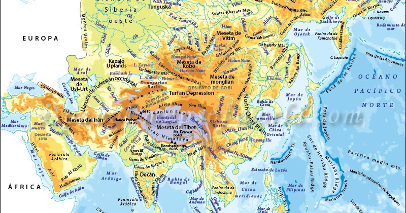 Montes Altai Mapa Fisico.Geografia De Asia