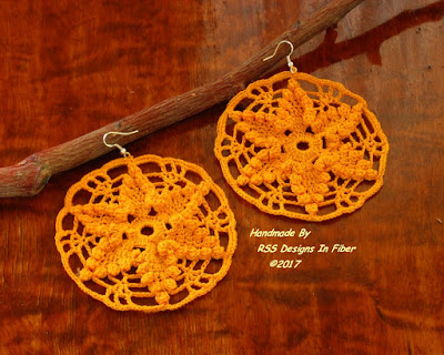 Yellow Star Dangle Earrings - Handmade Crochet Lace By Ruth Sandra Sperling - RSS Designs In Fiber