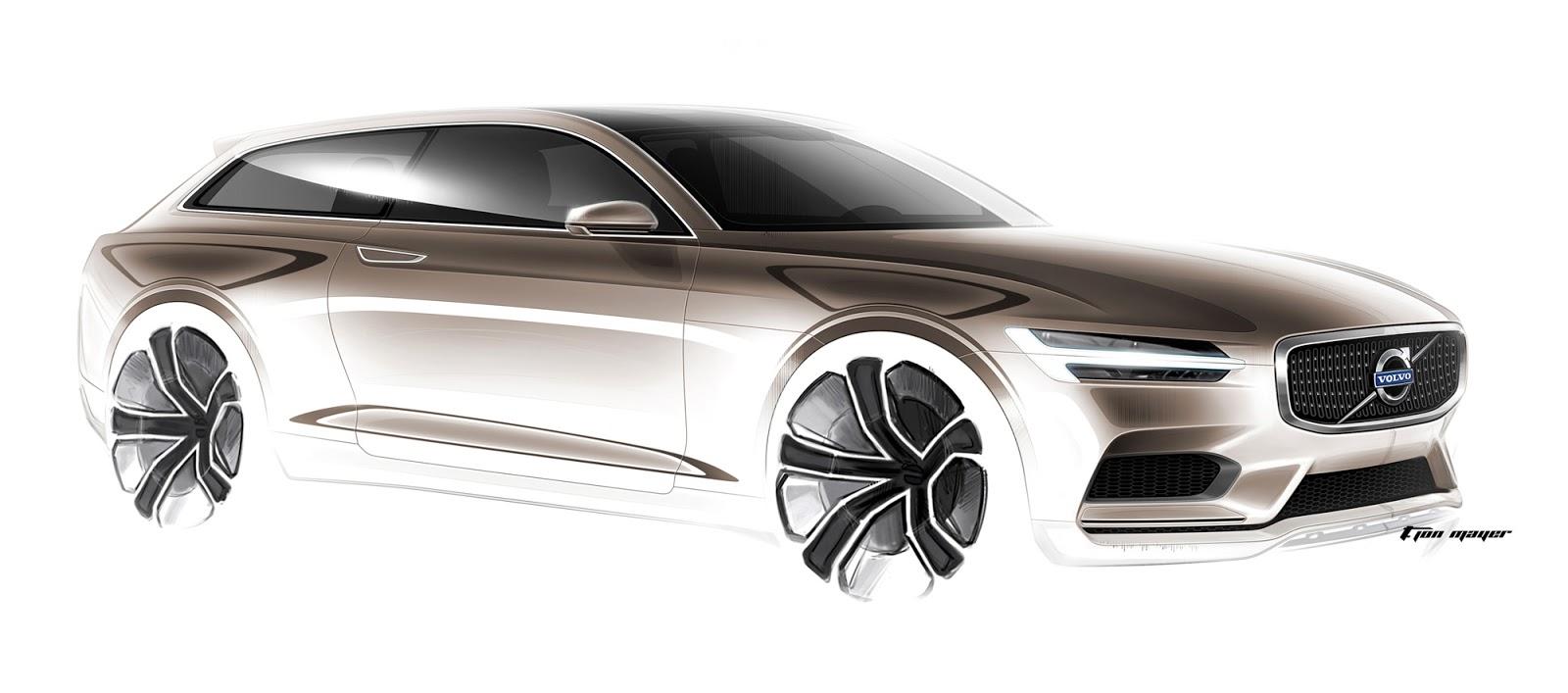 Volvo Concept Estate sketch front quarter view by T. Jon Mayer