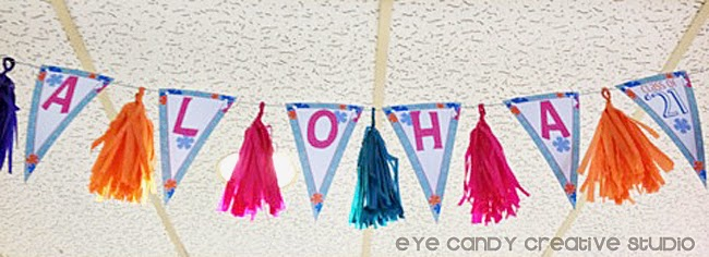 aloha banner, grad party, graduation luau party, tissue tassels, bunting