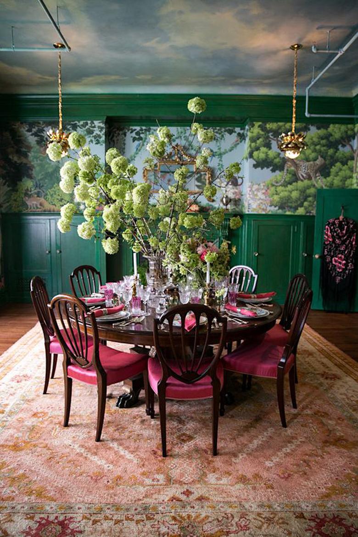 kompozycja kolorów - zieleń plus bordo