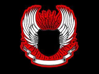 Logo Polos Perisai Bersayap tengah hitam pinggir merah