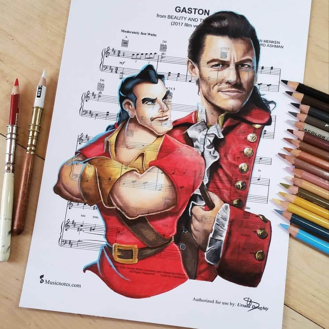 12-Gaston-U-Doughty-Movie-Character-Drawings-on-Music-Sheets-www-designstack-co